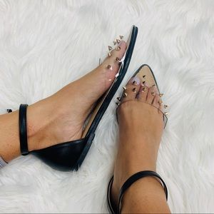 Shoes - Black clear studded pointed sandal